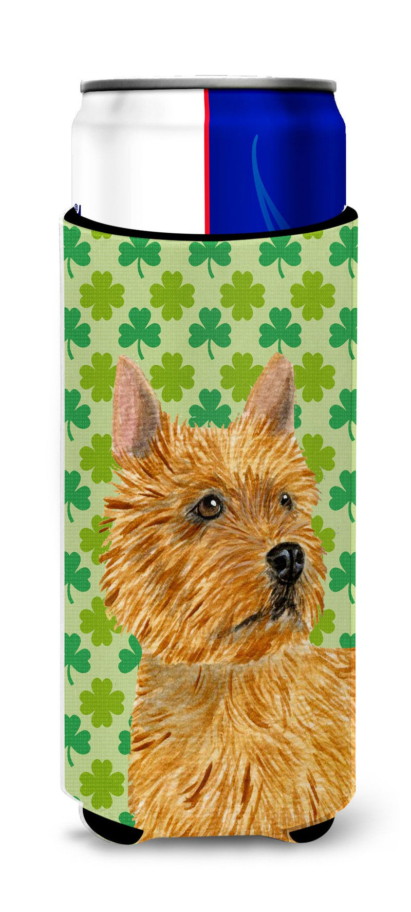 Buy this Norwich Terrier St. Patrick's Day Shamrock Portrait Ultra Beverage Insulators for slim cans SS4430MUK