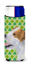 Jack Russell Terrier St. Patrick's Day Shamrock Portrait Ultra Beverage Insulators for slim cans SS4435MUK by Caroline's Treasures