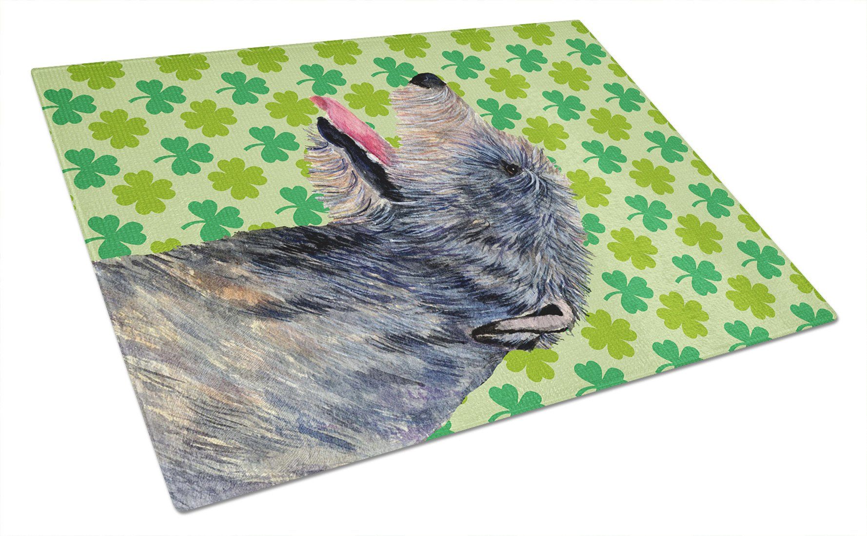 Irish Wolfhound St. Patrick's Day Shamrock Portrait Glass Cutting Board Large by Caroline's Treasures