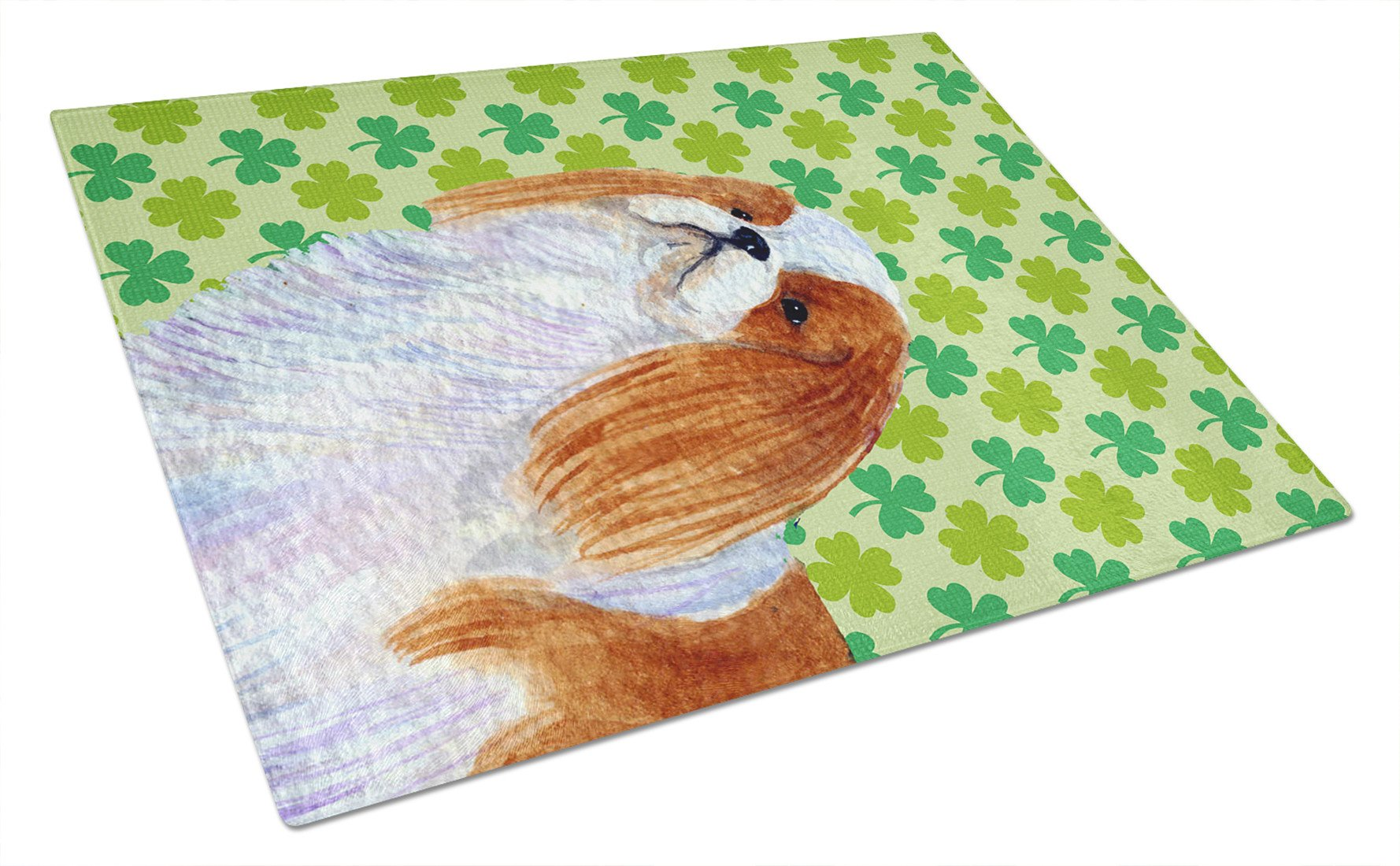 English Toy Spaniel St. Patrick's Day Shamrock  Glass Cutting Board Large by Caroline's Treasures