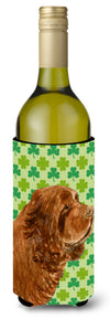 Sussex Spaniel St. Patrick's Day Shamrock Portrait Wine Bottle Beverage Insulator Beverage Insulator Hugger by Caroline's Treasures