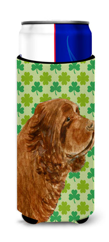 Buy this Sussex Spaniel St. Patrick's Day Shamrock Portrait Ultra Beverage Insulators for slim cans SS4441MUK