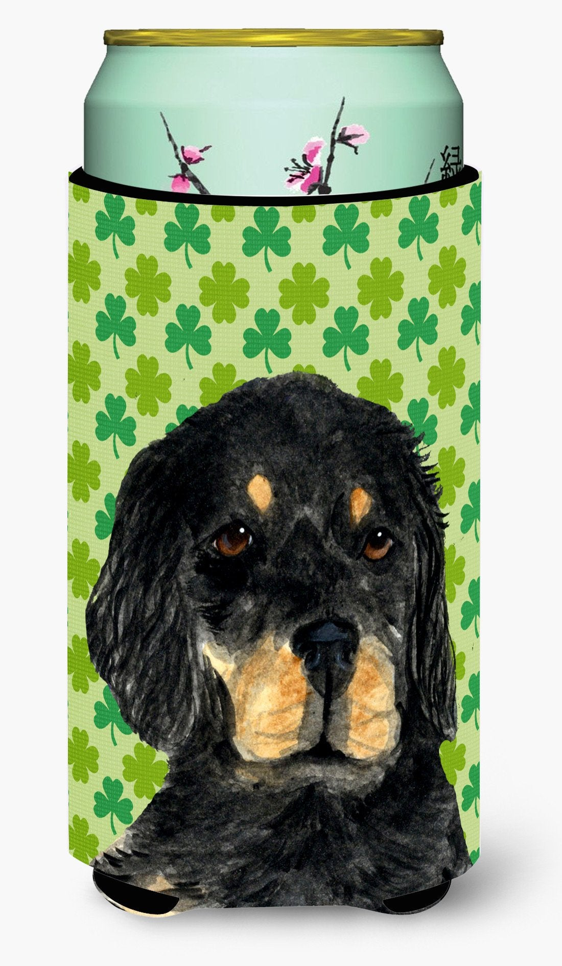 Gordon Setter St. Patrick's Day Shamrock Portrait  Tall Boy Beverage Insulator Beverage Insulator Hugger by Caroline's Treasures