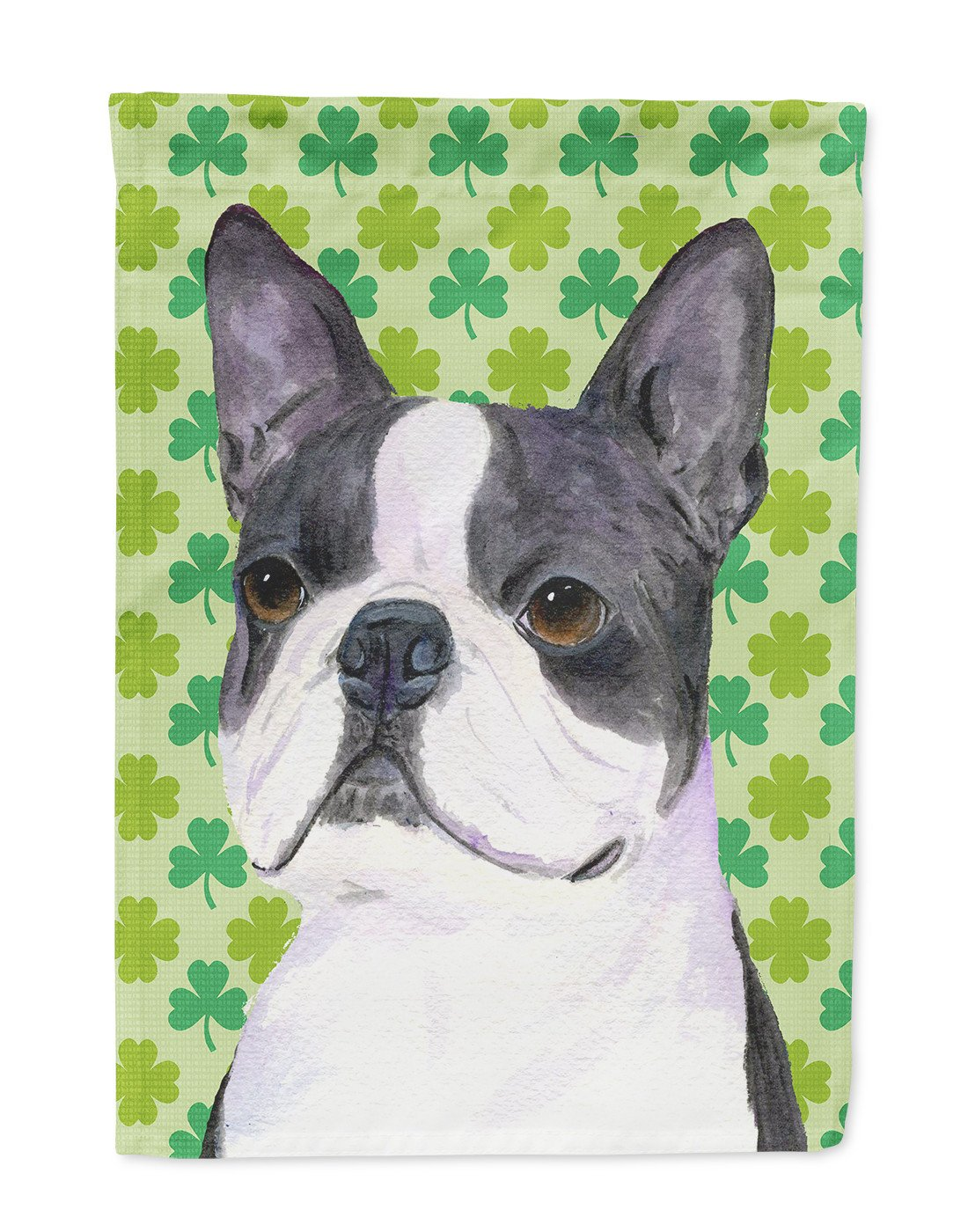 Boston Terrier St. Patrick's Day Shamrock Portrait Flag Garden Size by Caroline's Treasures