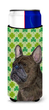 French Bulldog St. Patrick's Day Shamrock Portrait Ultra Beverage Insulators for slim cans SS4450MUK by Caroline's Treasures
