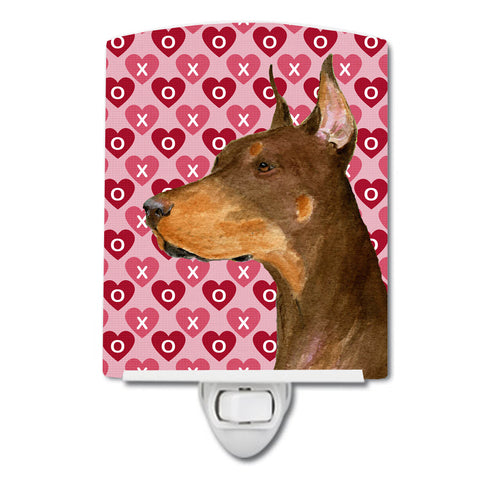 Buy this Doberman Hearts Love and Valentine's Day Portrait Ceramic Night Light SS4468CNL
