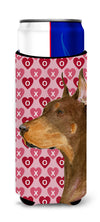 Doberman Hearts Love and Valentine's Day Portrait Ultra Beverage Insulators for slim cans SS4468MUK by Caroline's Treasures