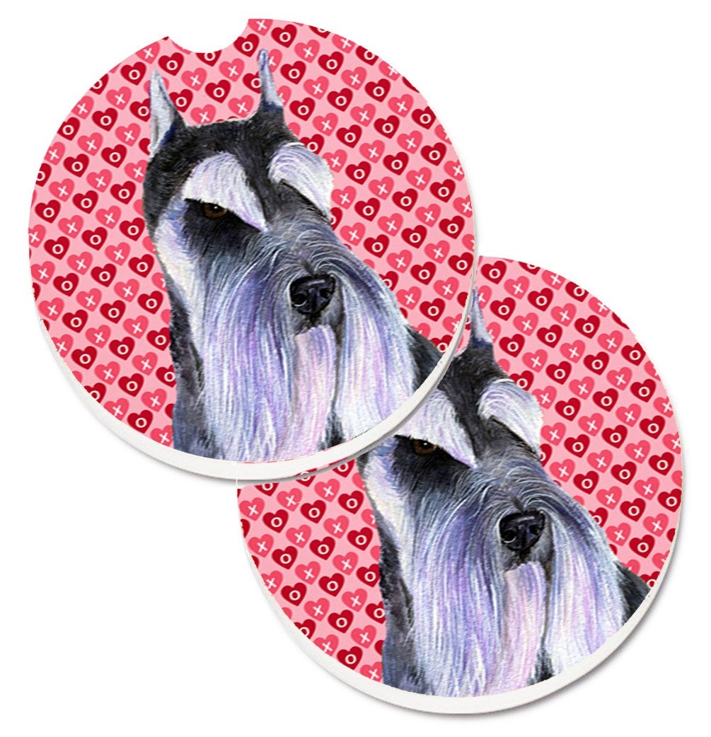 Schnauzer Hearts Love and Valentine's Day Portrait Set of 2 Cup Holder Car Coasters SS4477CARC by Caroline's Treasures