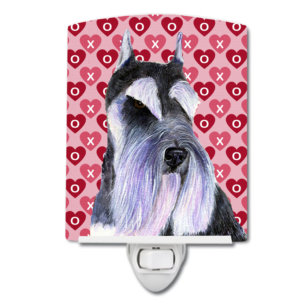 Schnauzer Hearts Love and Valentine's Day Portrait Ceramic Night Light SS4477CNL by Caroline's Treasures