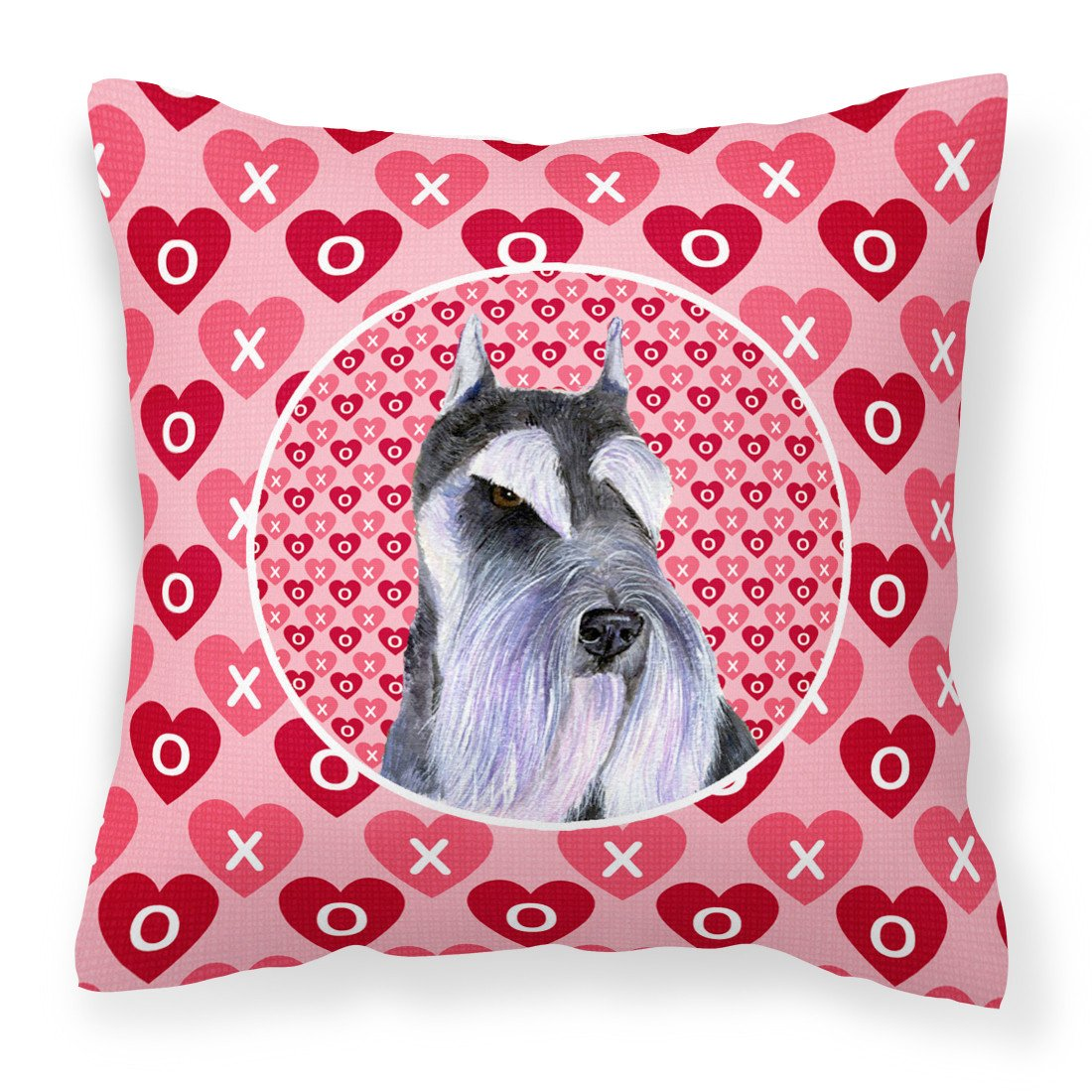 Schnauzer Hearts Love and Valentine's Day Portrait Fabric Decorative Pillow SS4477PW1414 by Caroline's Treasures