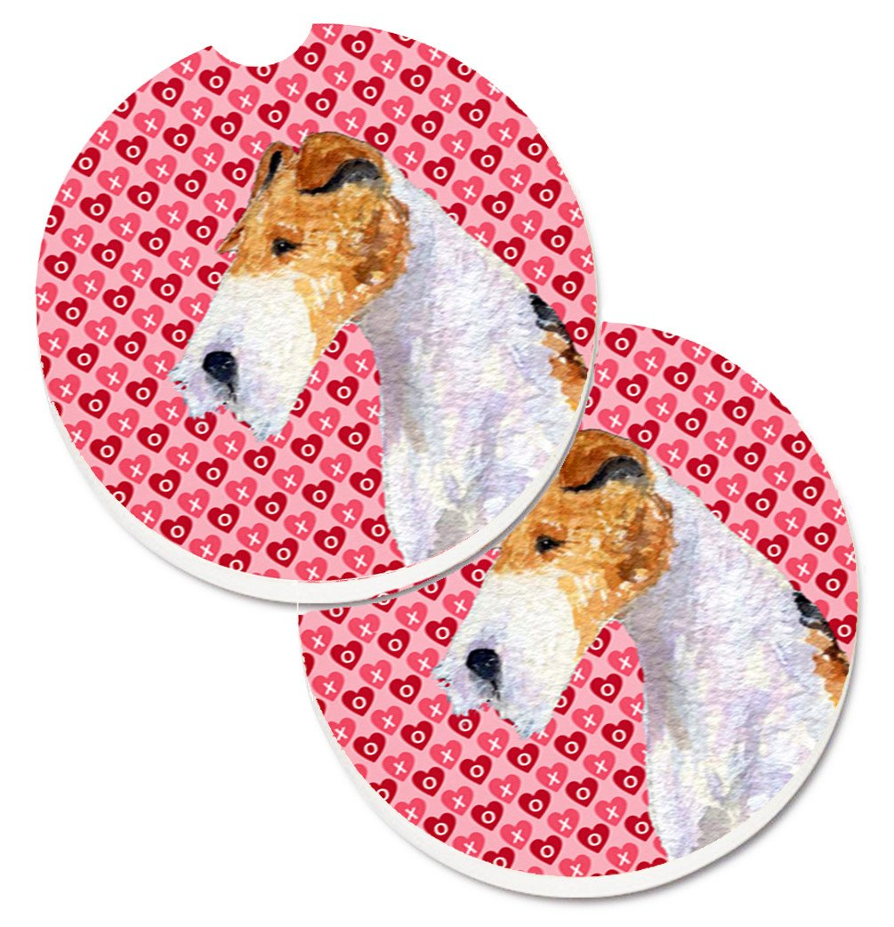 Fox Terrier Hearts Love and Valentine's Day Portrait Set of 2 Cup Holder Car Coasters SS4478CARC by Caroline's Treasures