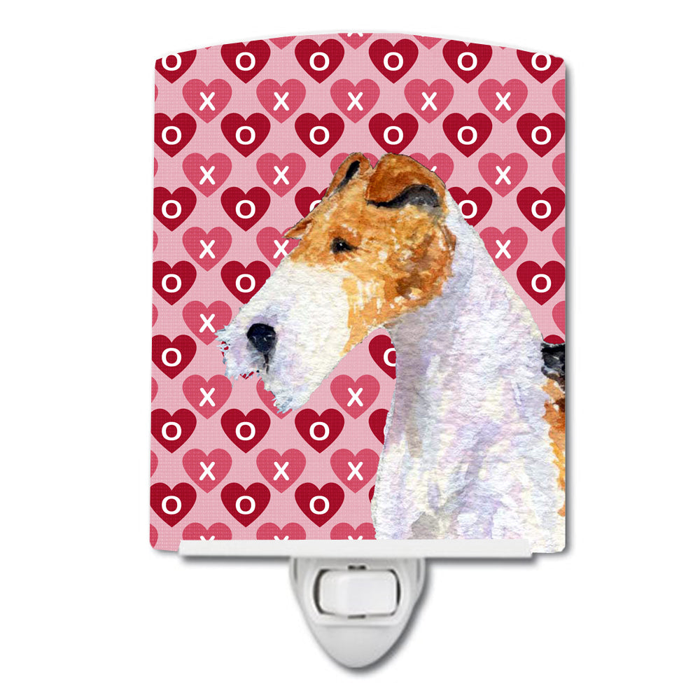 Fox Terrier Hearts Love and Valentine's Day Portrait Ceramic Night Light SS4478CNL by Caroline's Treasures