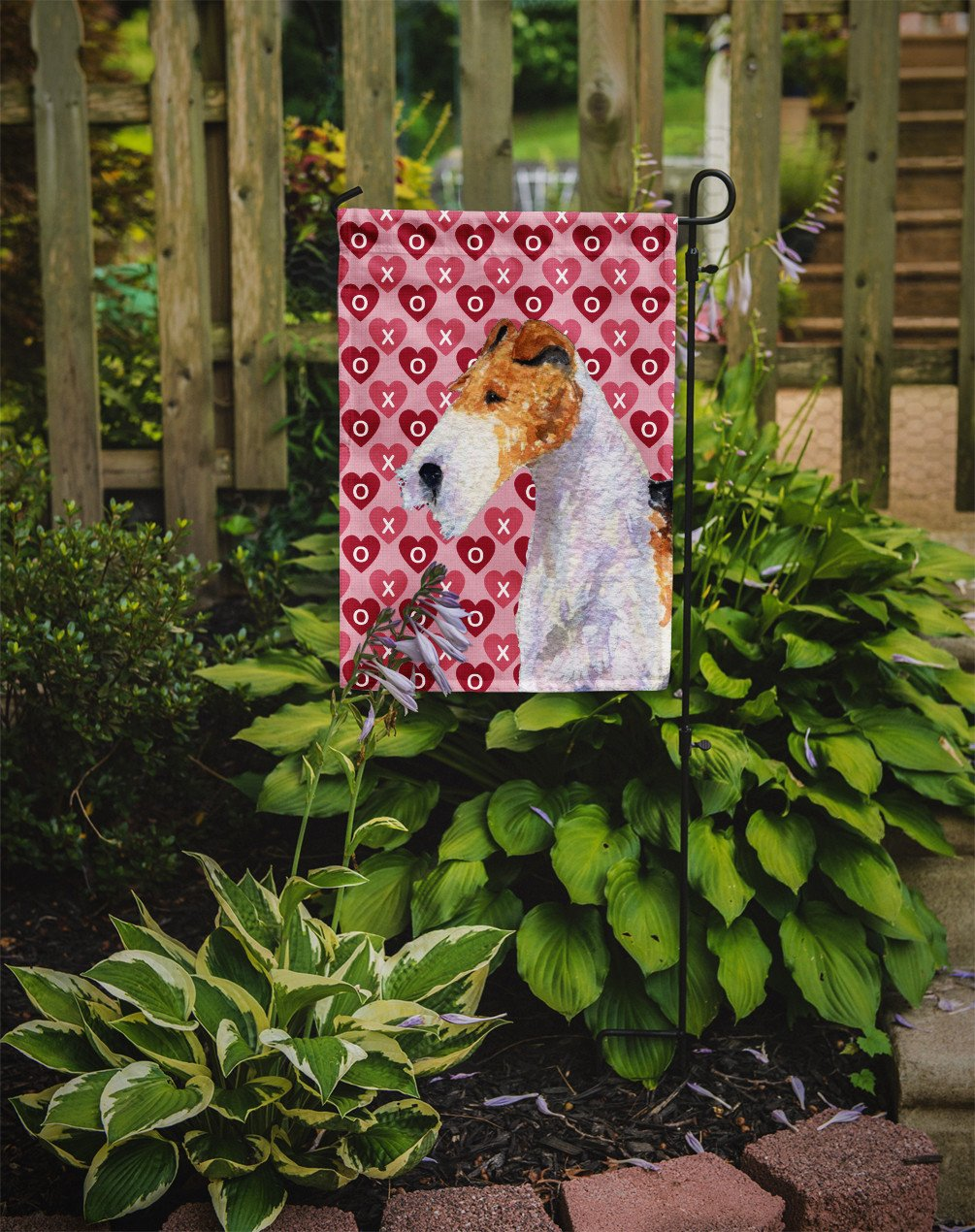 Fox Terrier Hearts Love and Valentine's Day Portrait Flag Garden Size - the-store.com