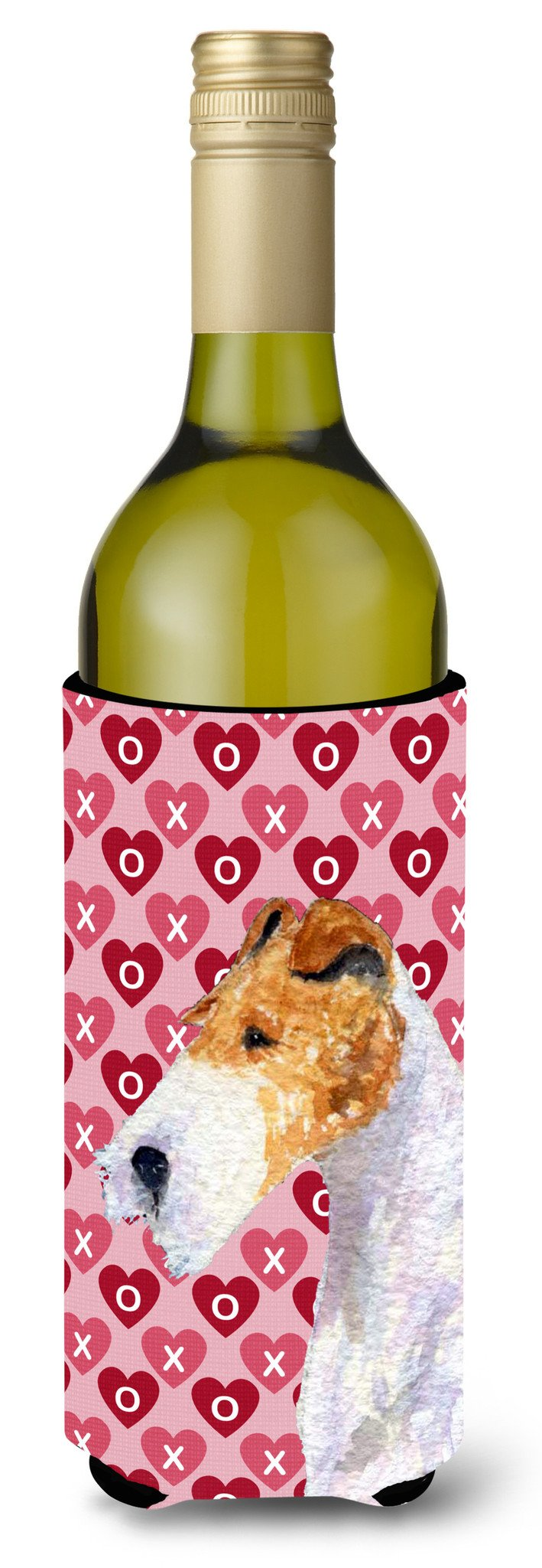 Fox Terrier Hearts Love and Valentine's Day Portrait Wine Bottle Beverage Insulator Beverage Insulator Hugger by Caroline's Treasures