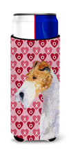 Fox Terrier Hearts Love and Valentine's Day Portrait Ultra Beverage Insulators for slim cans SS4478MUK by Caroline's Treasures