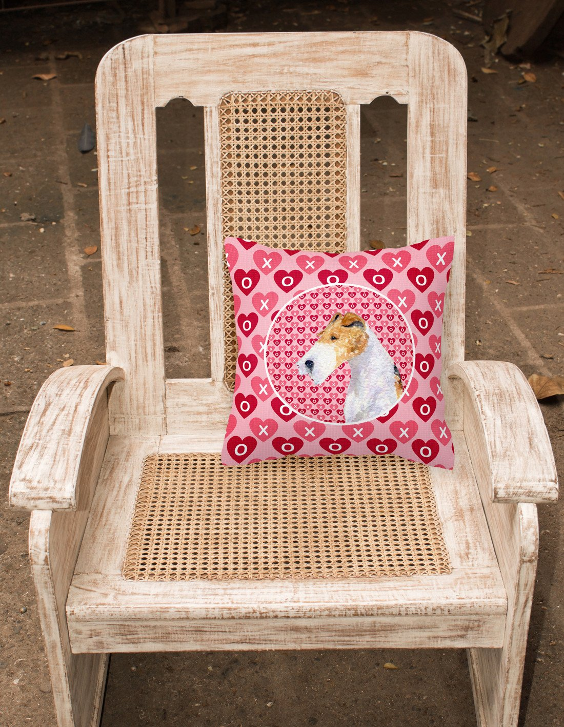 Fox Terrier Hearts Love and Valentine's Day Portrait Fabric Decorative Pillow SS4478PW1414 by Caroline's Treasures