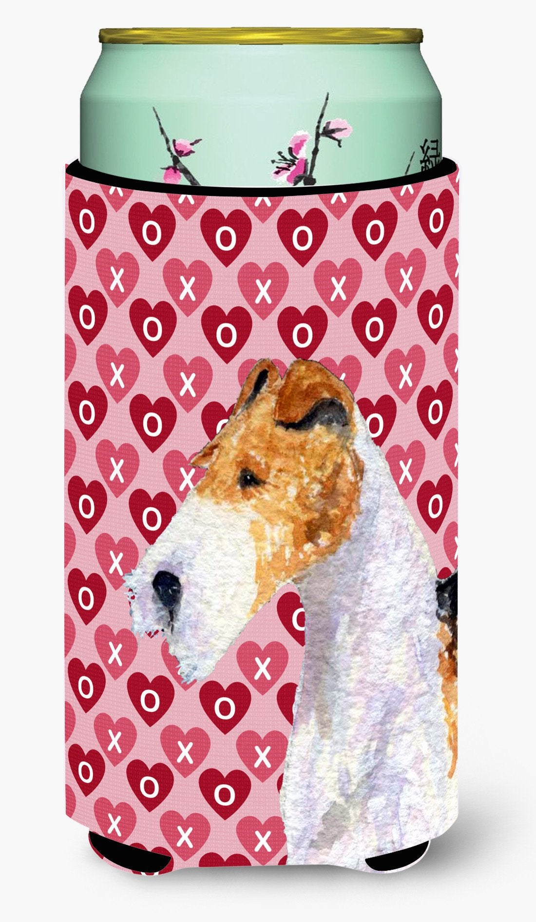 Fox Terrier Hearts Love and Valentine's Day Portrait  Tall Boy Beverage Insulator Beverage Insulator Hugger by Caroline's Treasures