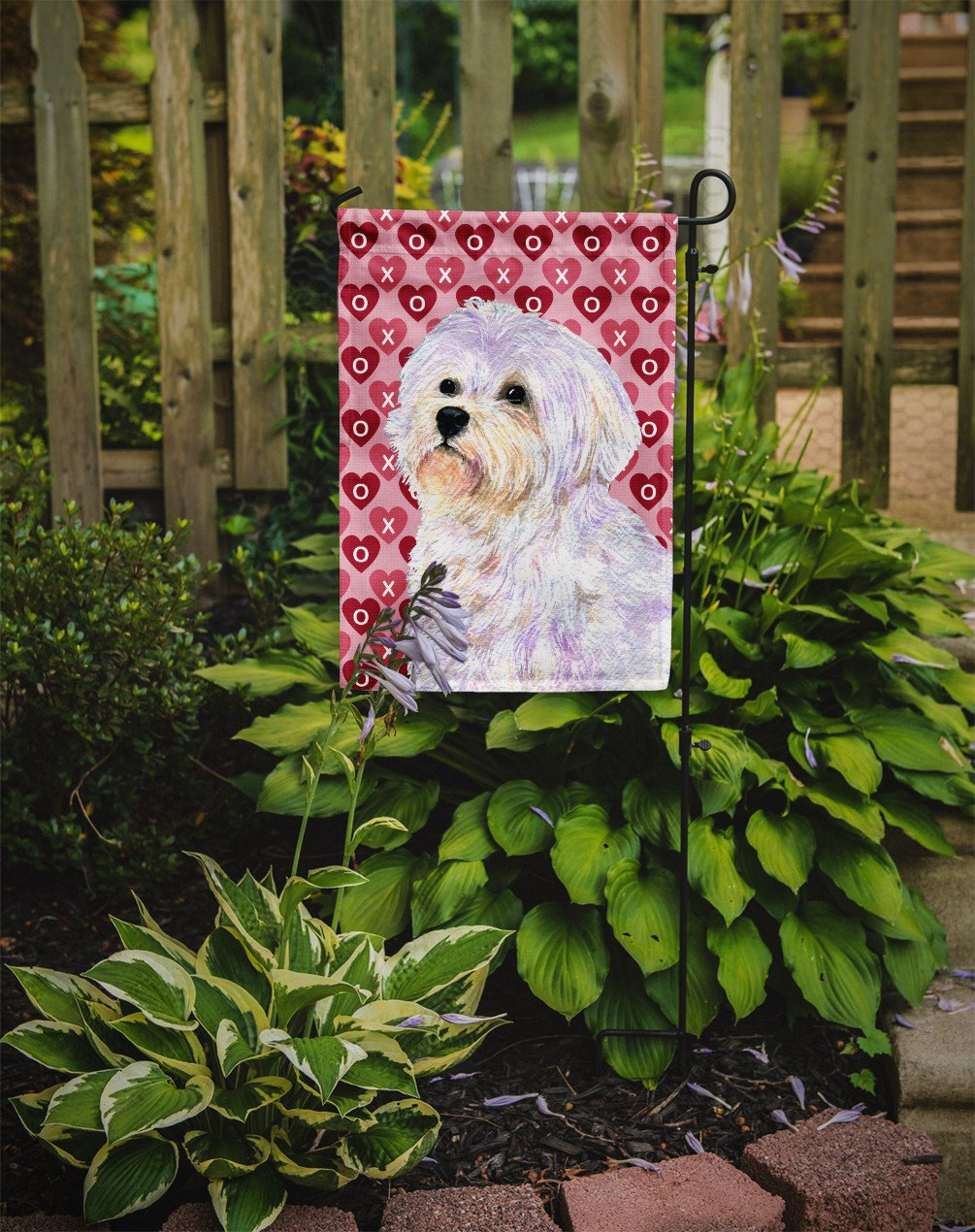 Maltese Hearts Love and Valentine's Day Portrait Flag Garden Size - the-store.com