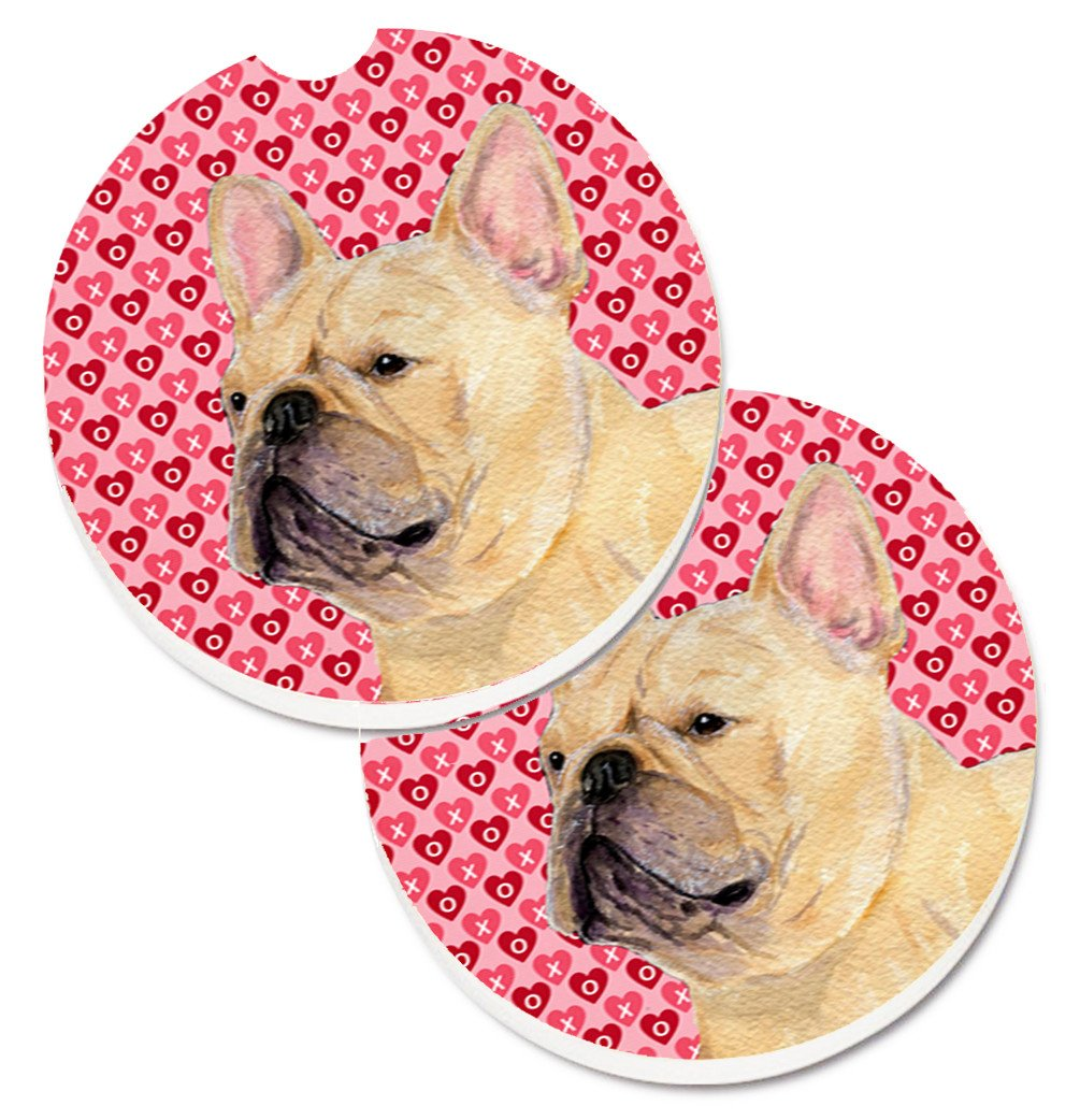Buy this French Bulldog Hearts Love and Valentine's Day Portrait Set of 2 Cup Holder Car Coasters SS4485CARC