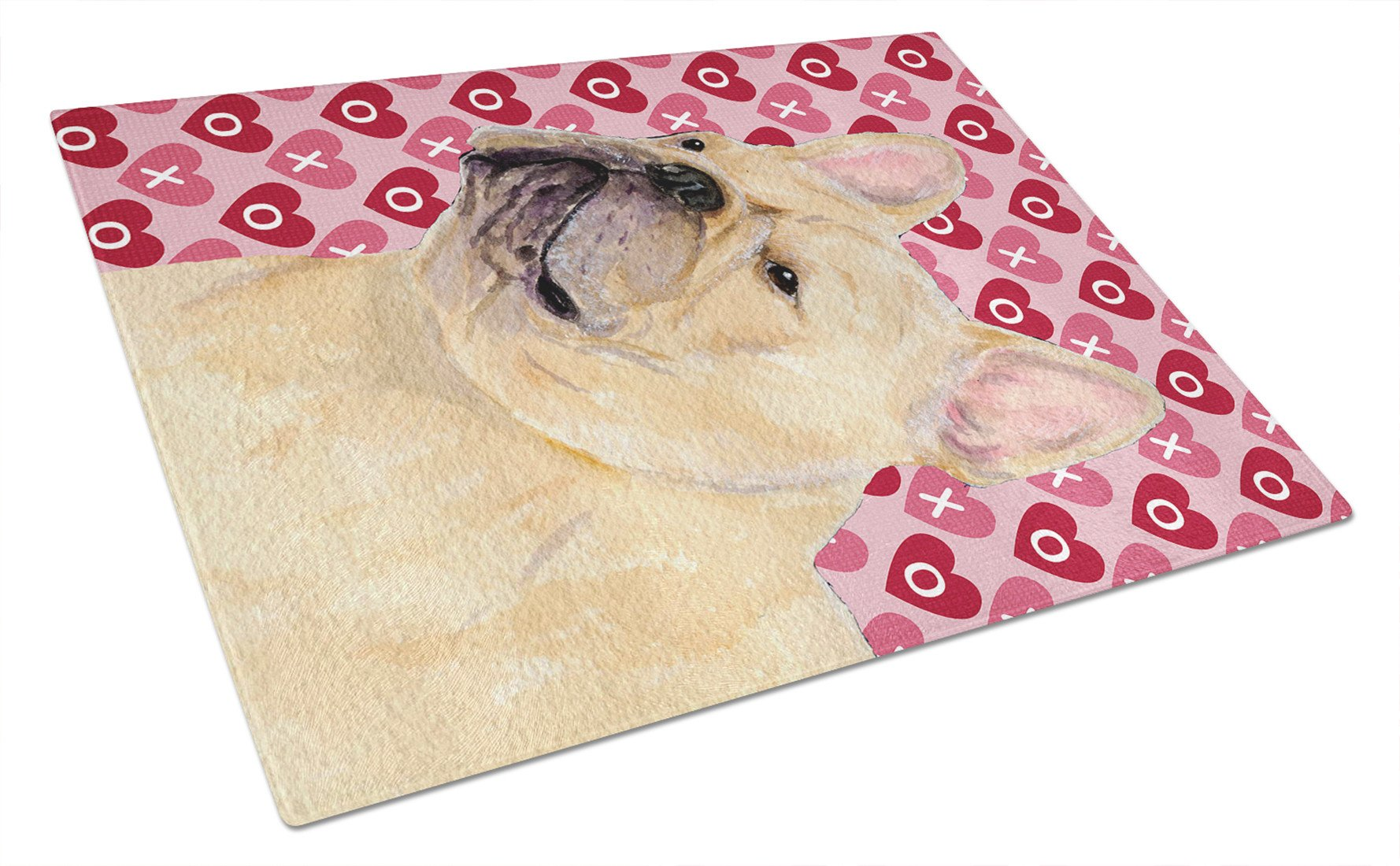 Buy this French Bulldog Hearts Love and Valentine's Day Glass Cutting Board Large