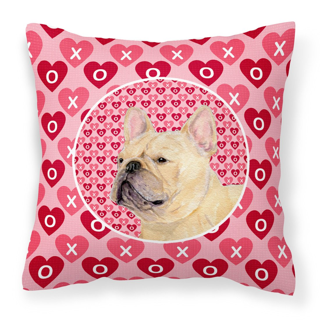 Buy this French Bulldog Hearts Love and Valentine's Day Portrait Fabric Decorative Pillow SS4485PW1414