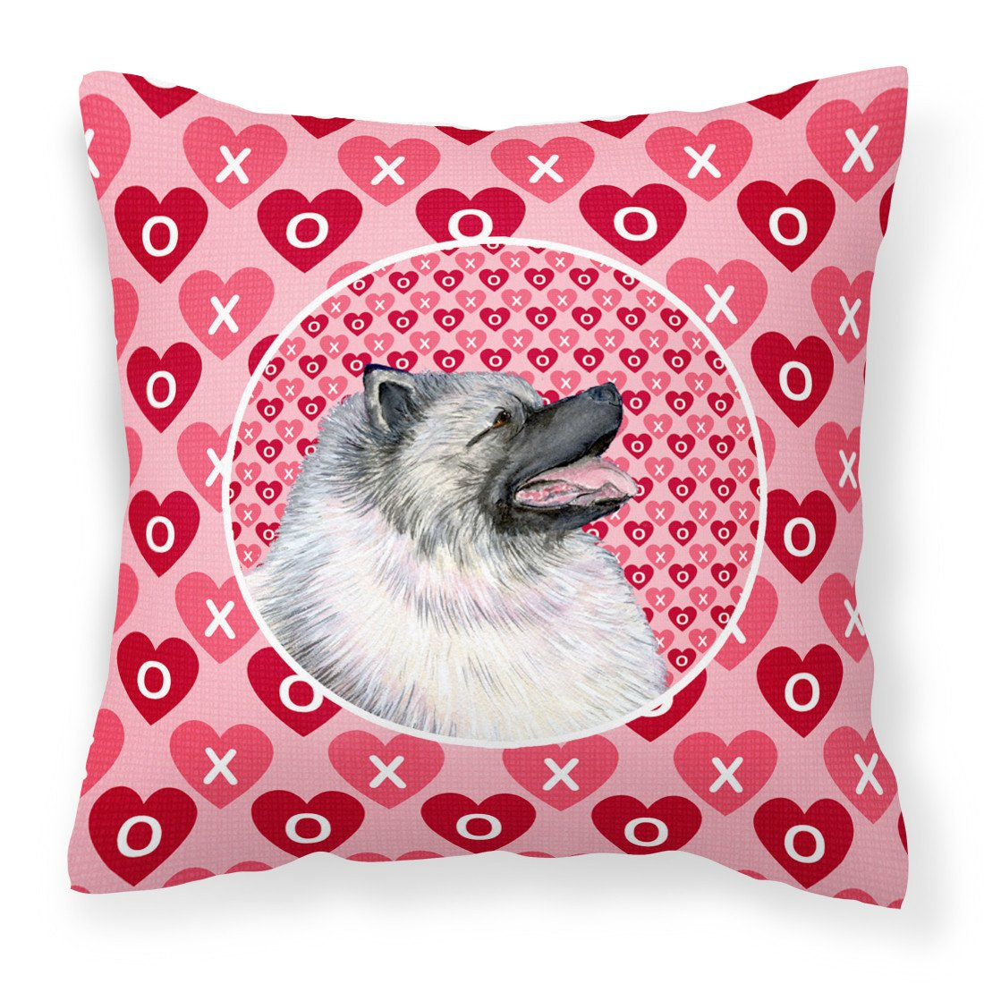 Keeshond Hearts Love and Valentine's Day Portrait Fabric Decorative Pillow SS4488PW1414 by Caroline's Treasures