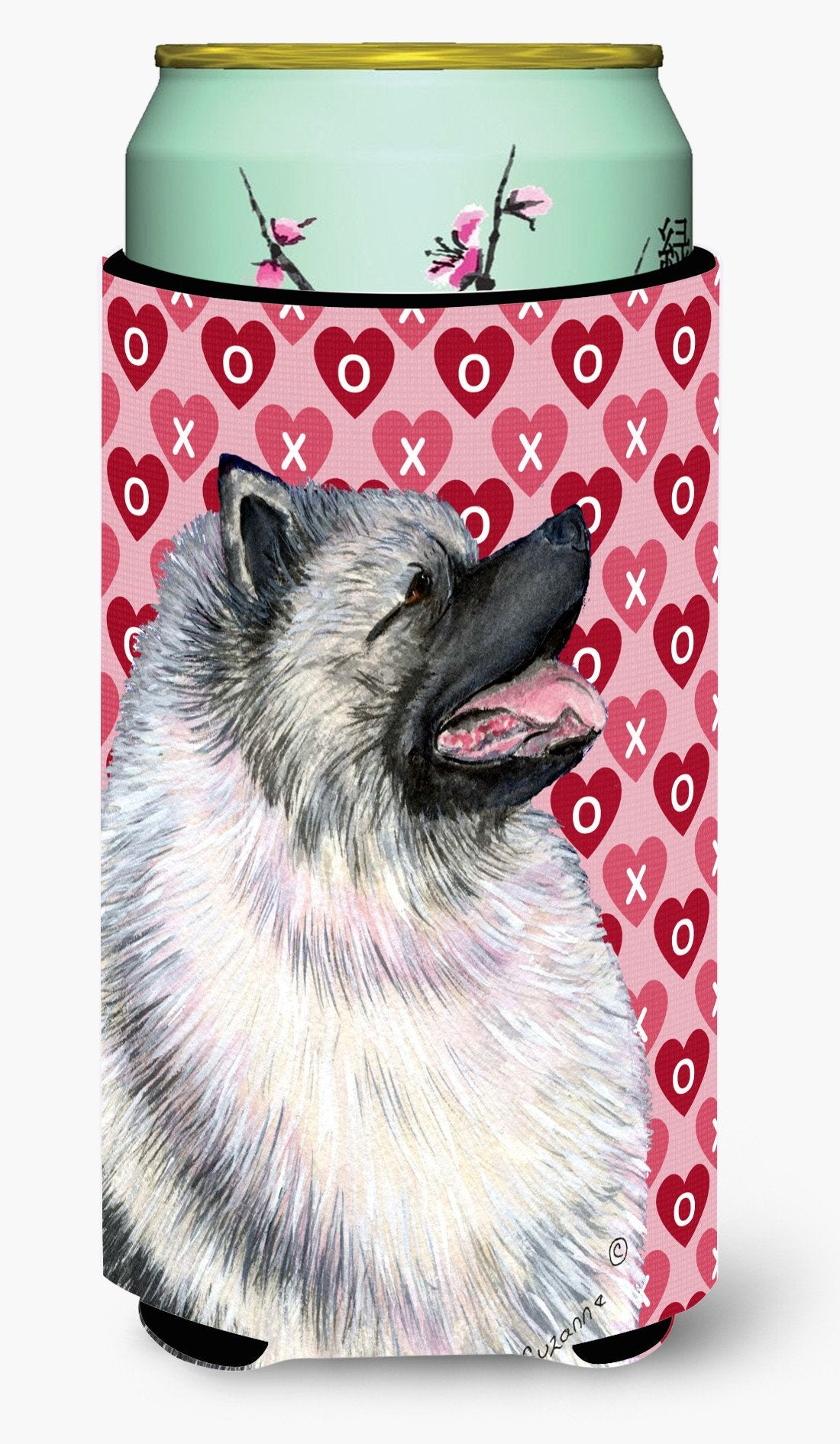 Keeshond Hearts Love and Valentine's Day Portrait  Tall Boy Beverage Insulator Beverage Insulator Hugger by Caroline's Treasures