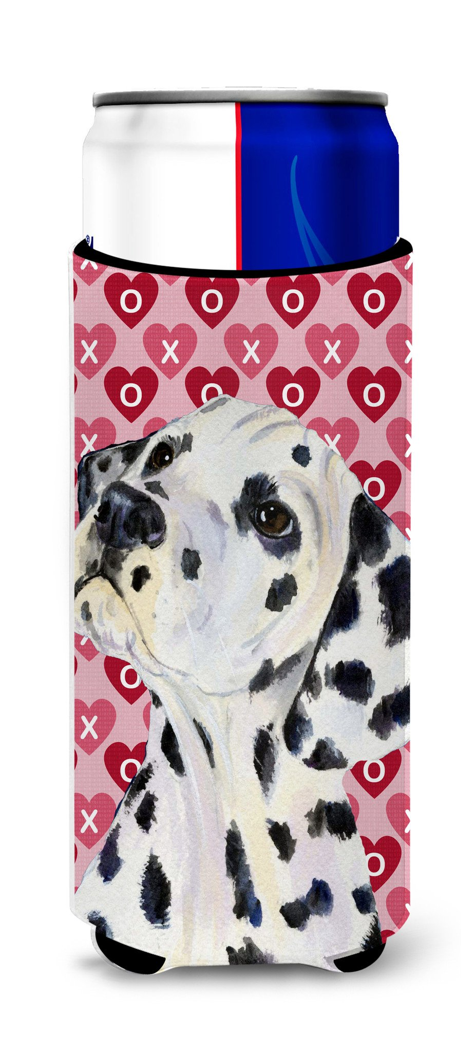 Dalmatian Hearts Love and Valentine's Day Portrait Ultra Beverage Insulators for slim cans SS4492MUK by Caroline's Treasures