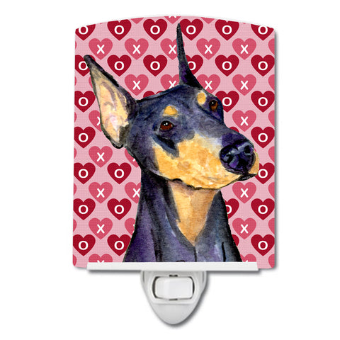 Buy this Doberman Hearts Love and Valentine's Day Portrait Ceramic Night Light SS4495CNL