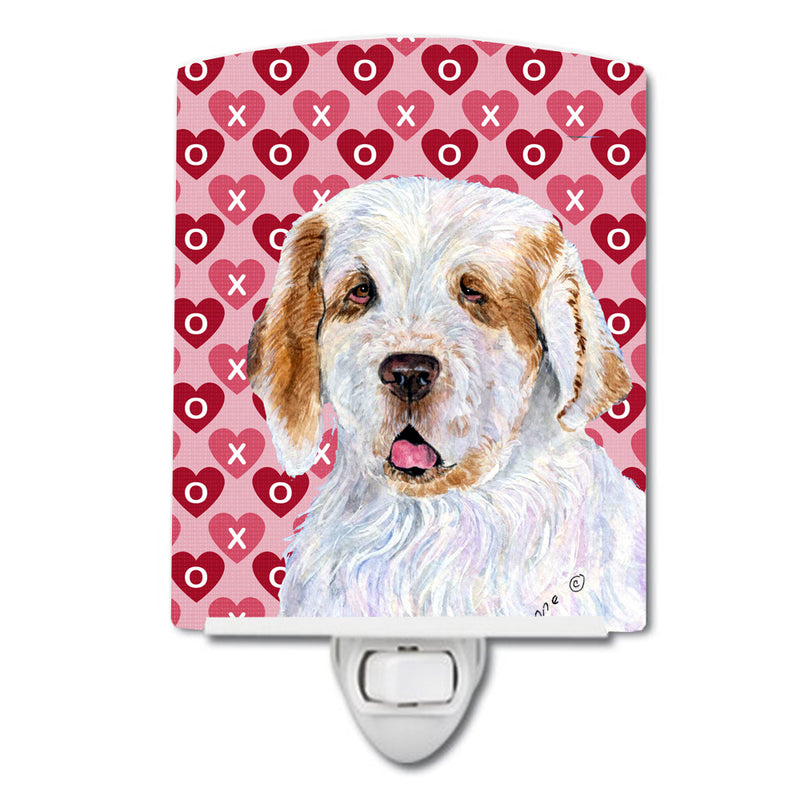 Buy this Clumber Spaniel Hearts Love and Valentine's Day Portrait Ceramic Night Light SS4500CNL