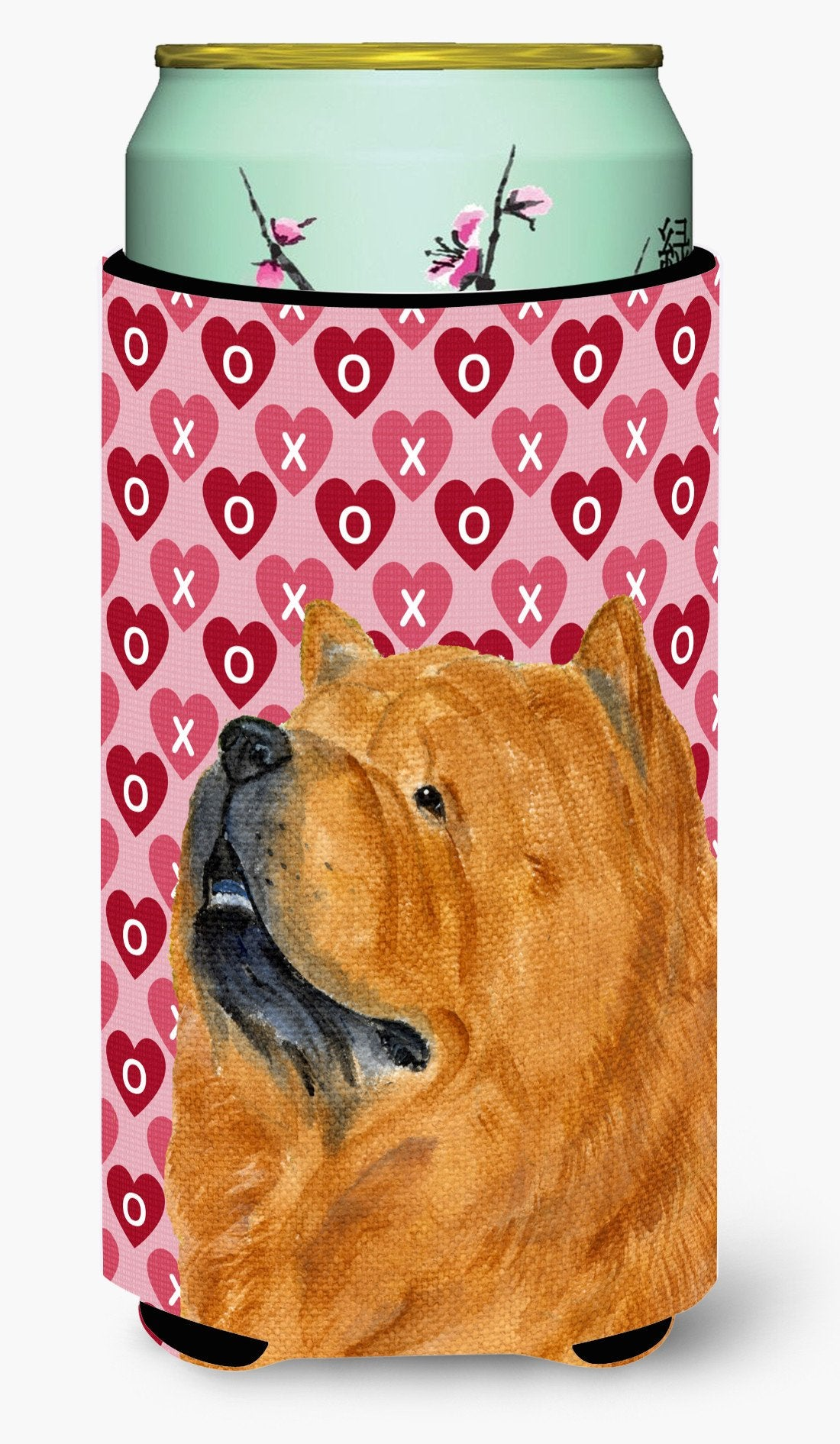 Chow Chow Hearts Love and Valentine's Day Portrait  Tall Boy Beverage Insulator Beverage Insulator Hugger by Caroline's Treasures