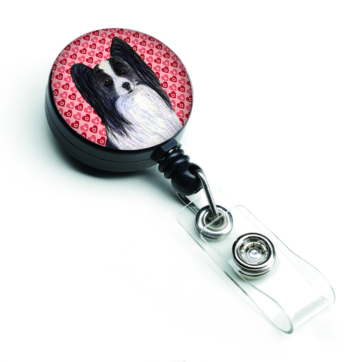 Papillon Love Retractable Badge Reel or ID Holder with Clip by Caroline's Treasures