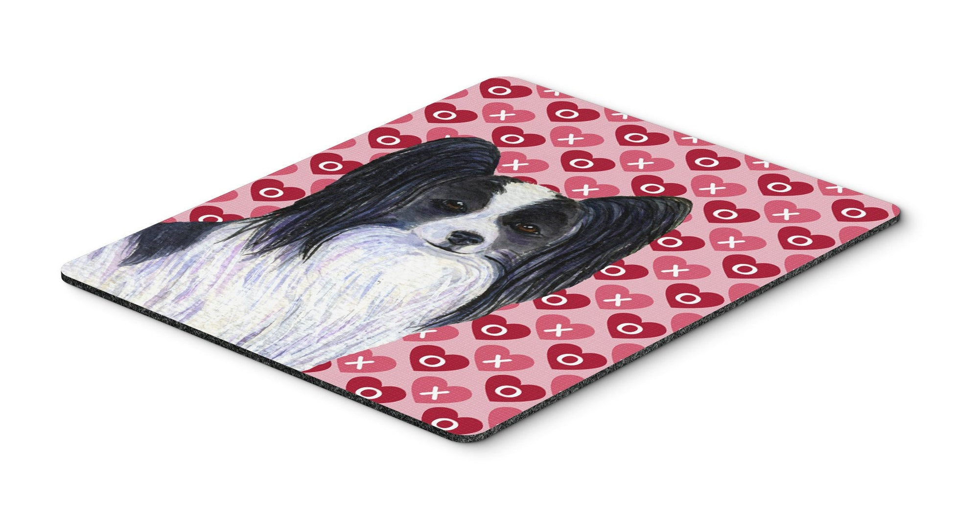 Papillon Hearts Love and Valentine's Day Portrait Mouse Pad, Hot Pad or Trivet by Caroline's Treasures