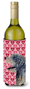 Buy this Irish Wolfhound Hearts Love  Valentine's Day Portrait Wine Bottle Beverage Insulator Beverage Insulator Hugger