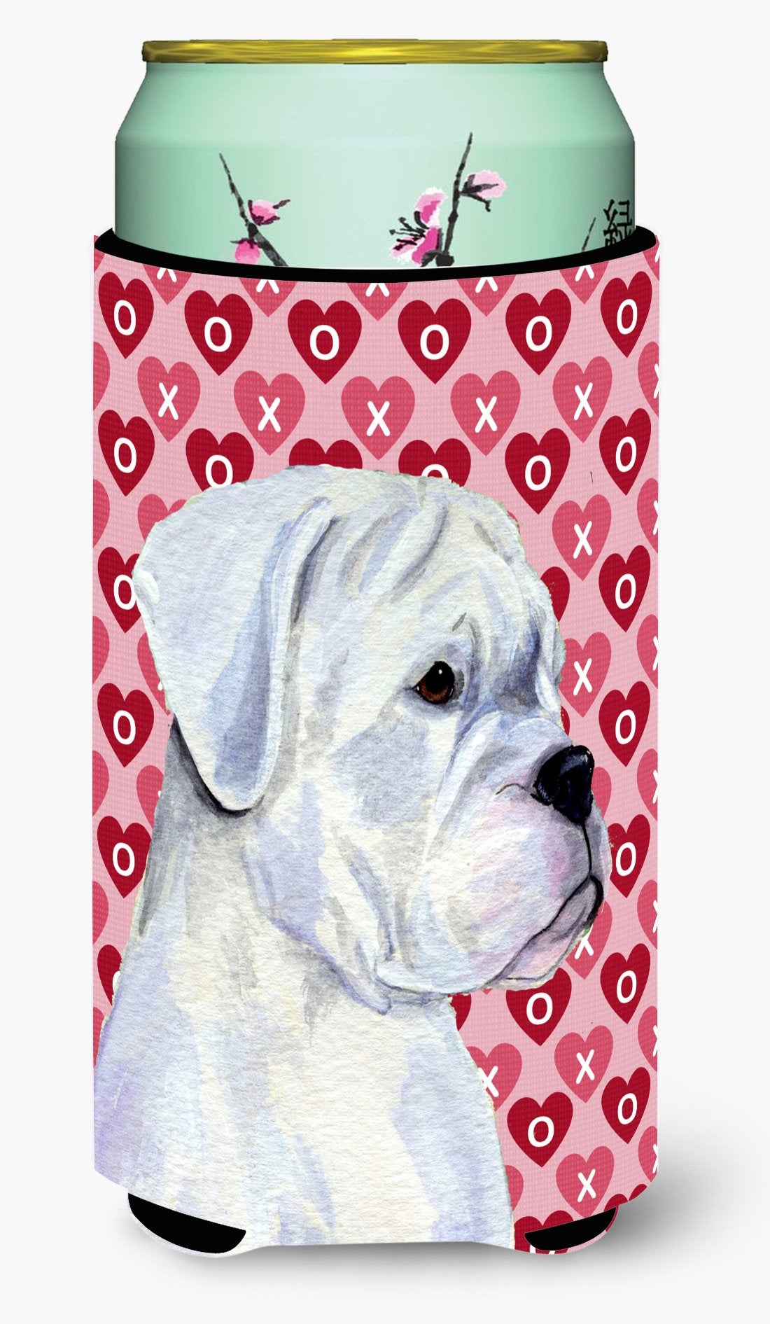 Buy this Boxer Hearts Love and Valentine's Day Portrait Tall Boy Beverage Insulator Beverage Insulator Hugger