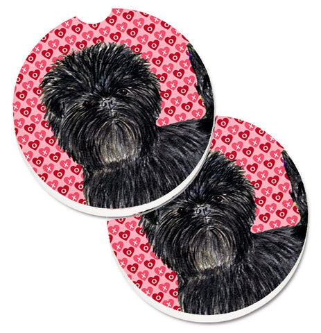 Buy this Affenpinscher Hearts Love and Valentine's Day Portrait Set of 2 Cup Holder Car Coasters SS4511CARC