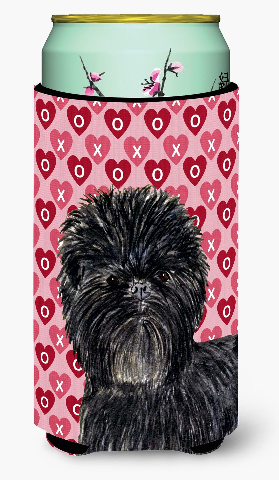 Affenpinscher Hearts Love and Valentine's Day Portrait Tall Boy Beverage Insulator Beverage Insulator Hugger by Caroline's Treasures