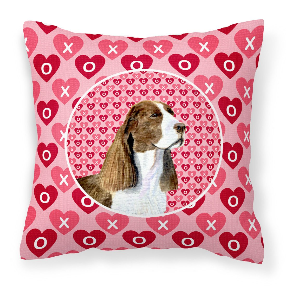 Springer Spaniel Hearts Love Valentine's Day Fabric Decorative Pillow SS4513PW1414 by Caroline's Treasures