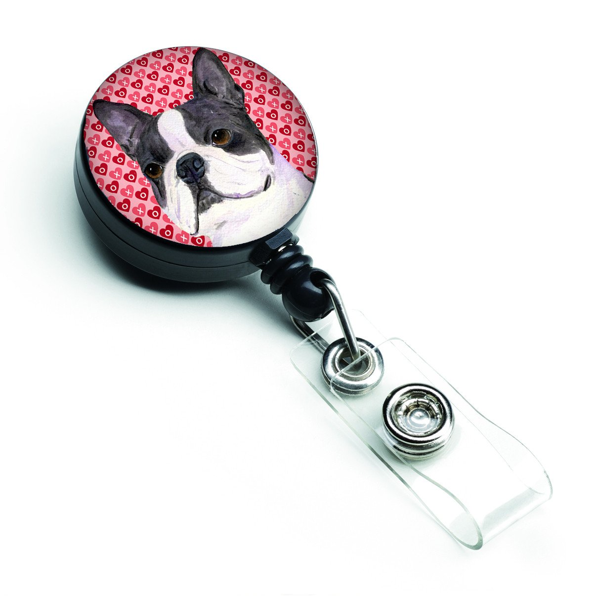 Boston Terrier Love Retractable Badge Reel or ID Holder with Clip by Caroline's Treasures