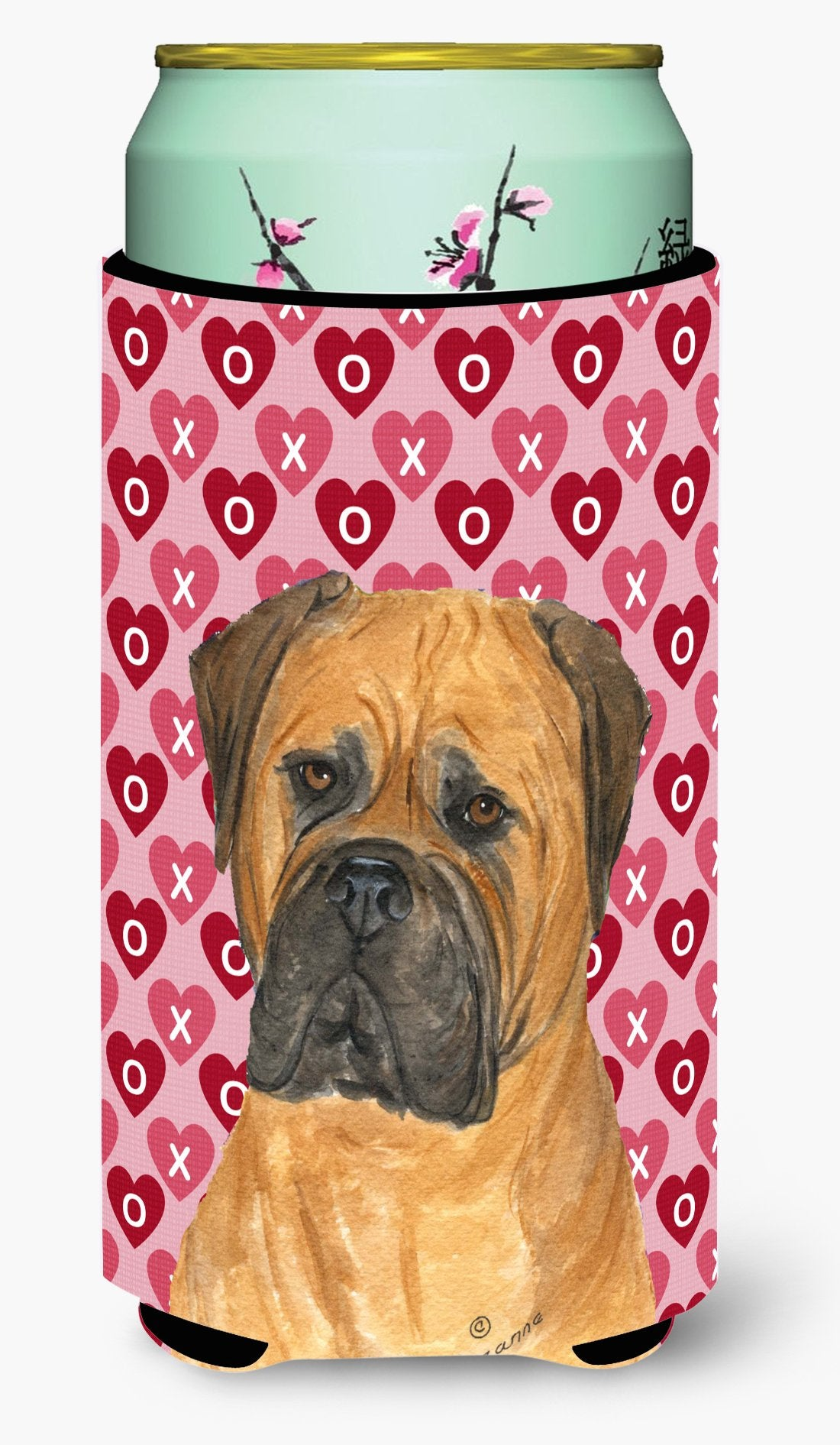 Buy this Bullmastiff Hearts Love and Valentine's Day Portrait Tall Boy Beverage Insulator Beverage Insulator Hugger