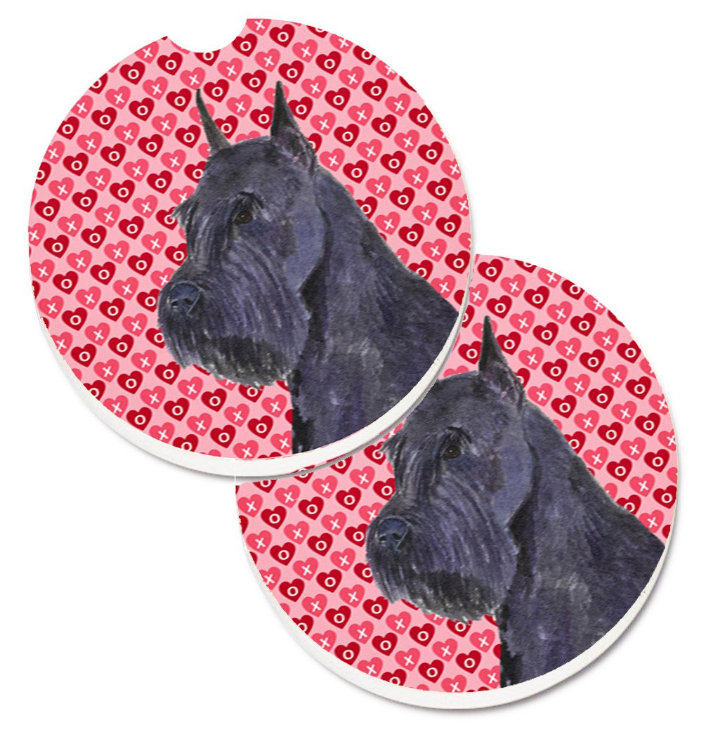 Schnauzer Hearts Love and Valentine's Day Portrait Set of 2 Cup Holder Car Coasters SS4523CARC by Caroline's Treasures