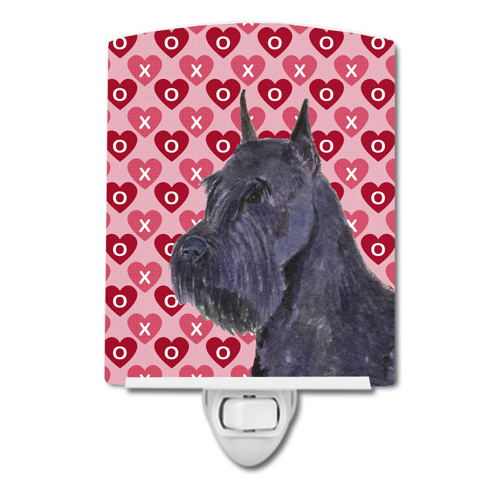 Schnauzer Hearts Love and Valentine's Day Portrait Ceramic Night Light SS4523CNL by Caroline's Treasures
