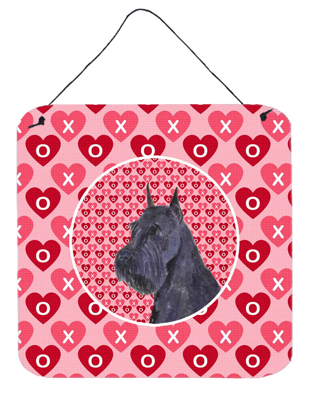 Schnauzer Hearts Love Valentine's Day Wall or Door Hanging Prints by Caroline's Treasures