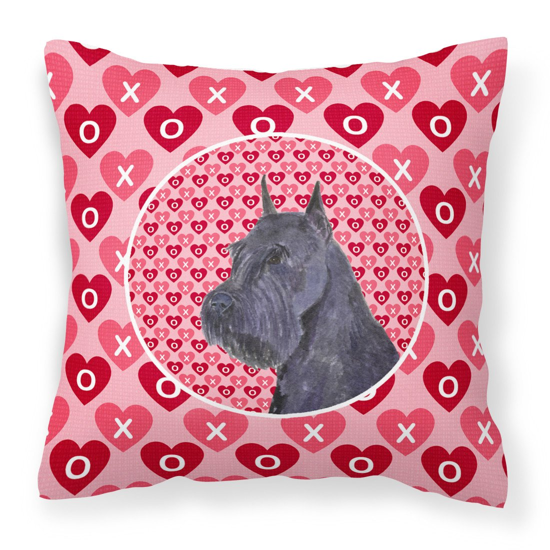 Schnauzer Hearts Love and Valentine's Day Portrait Fabric Decorative Pillow SS4523PW1414 by Caroline's Treasures