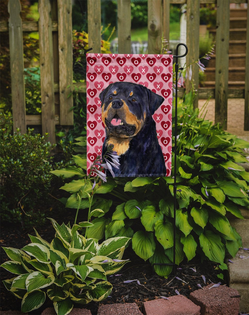 Rottweiler Hearts Love and Valentine's Day Portrait Flag Garden Size by Caroline's Treasures