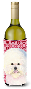 Buy this Bichon Frise Hearts Love and Valentine's Day  Wine Bottle Beverage Insulator Beverage Insulator Hugger