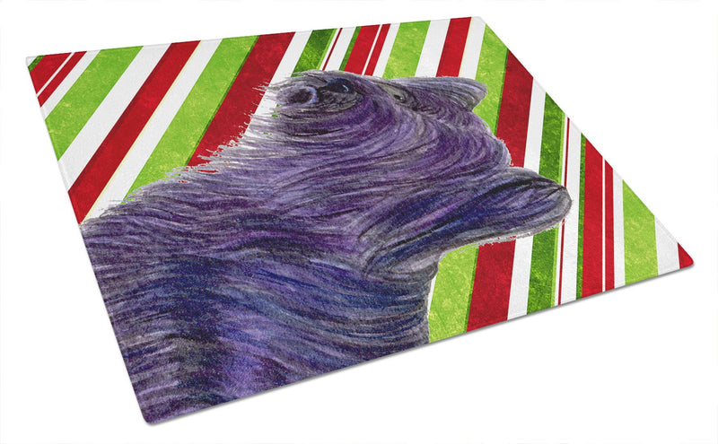 Buy this Skye Terrier Candy Cane Holiday Christmas Glass Cutting Board Large