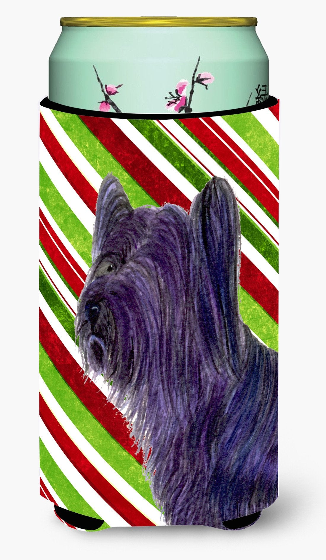 Buy this Skye Terrier Candy Cane Holiday Christmas  Tall Boy Beverage Insulator Beverage Insulator Hugger