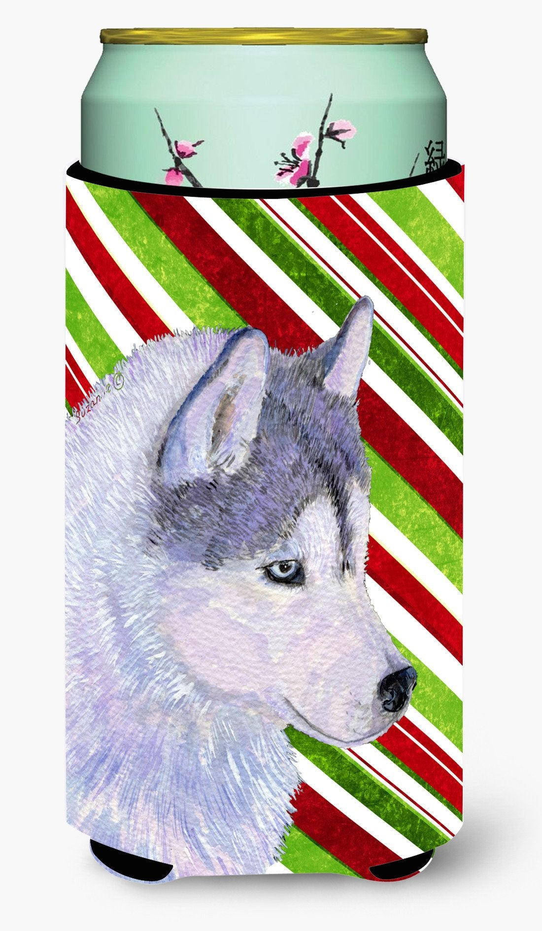 Siberian Husky Candy Cane Holiday Christmas  Tall Boy Beverage Insulator Beverage Insulator Hugger by Caroline's Treasures