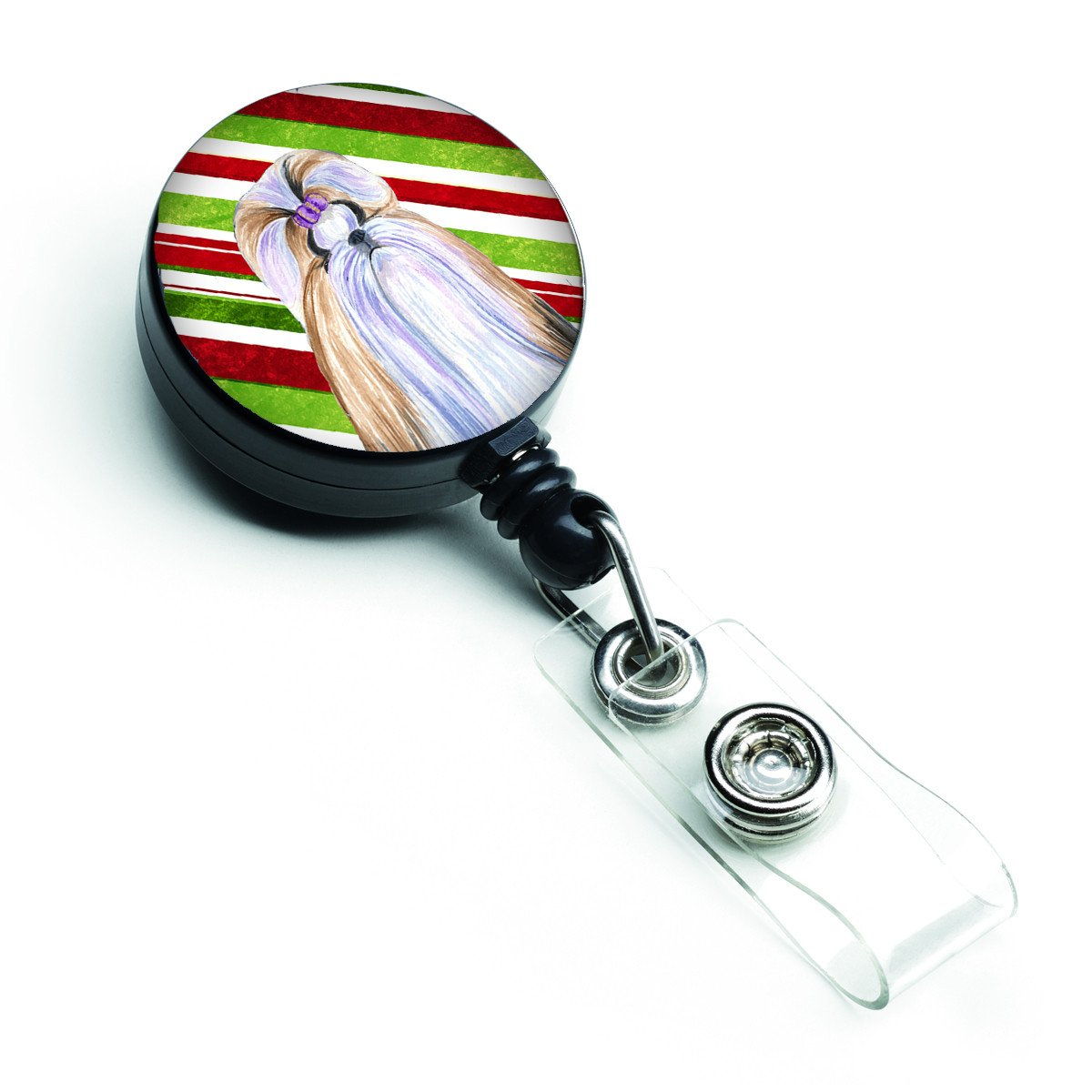 Shih Tzu Candy Cane Holiday Christmas Retractable Badge Reel SS4534BR by Caroline's Treasures